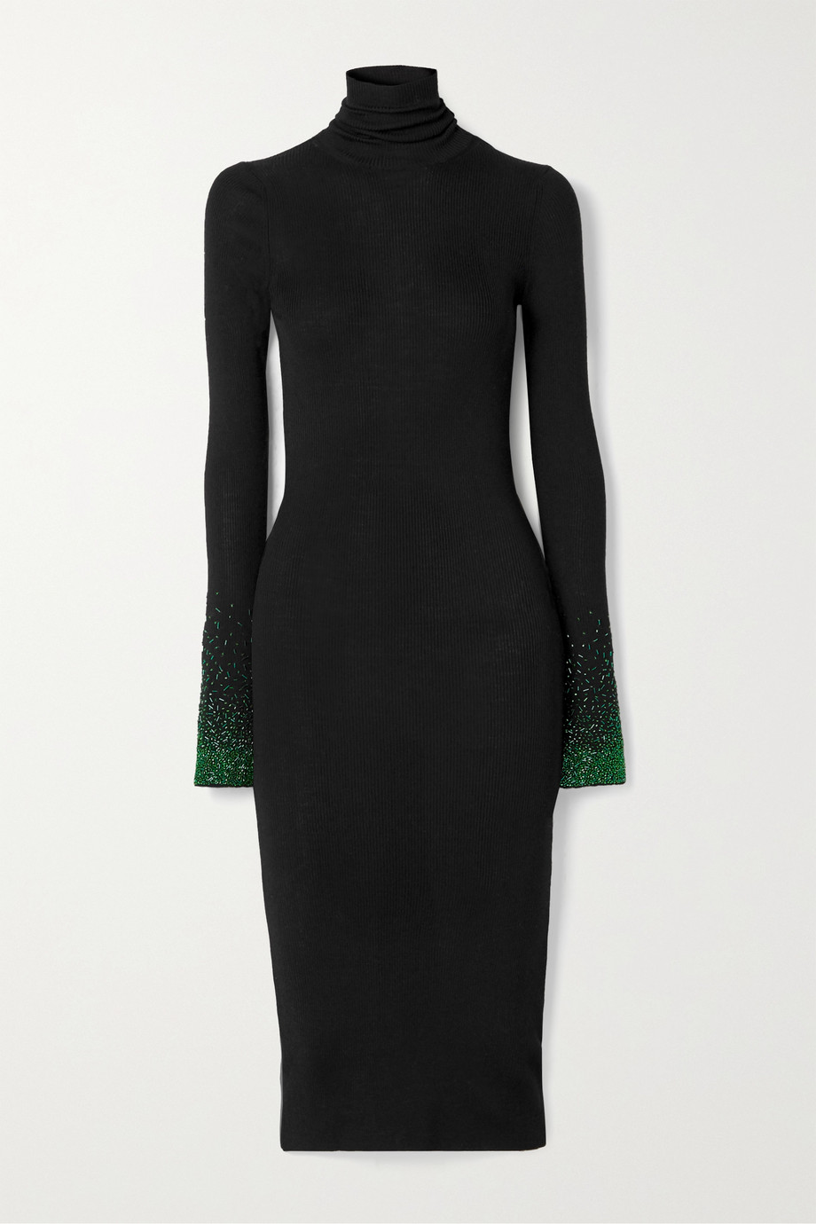 Loewe Embellished ribbed wool turtleneck dress