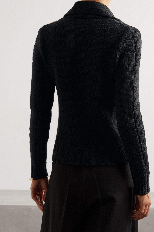Loewe Embellished cable-knit wool cardigan