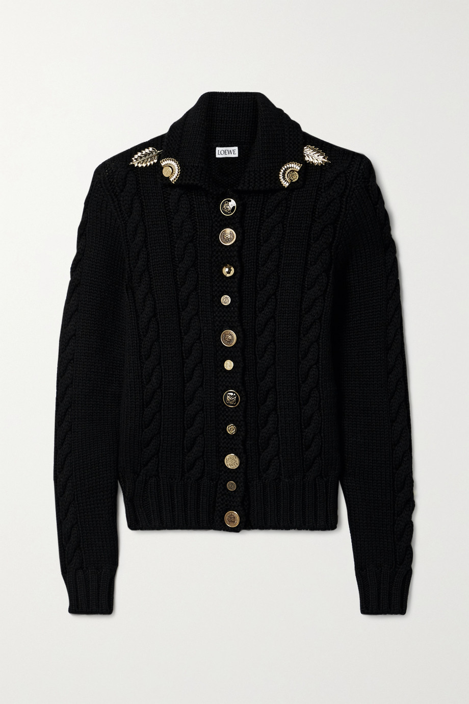 Loewe Embellished cable-knit wool cardigan