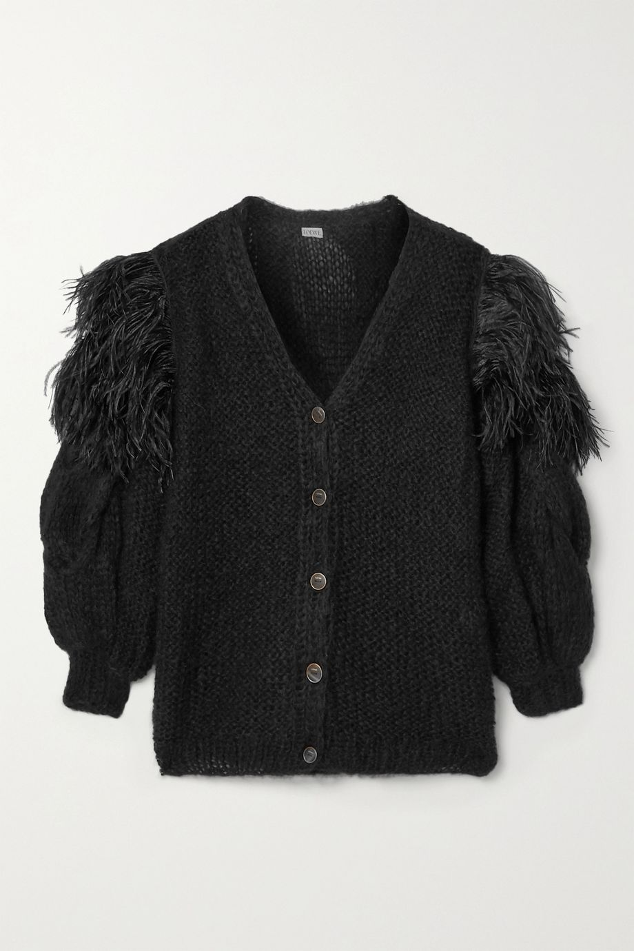 Loewe Oversized feather-trimmed cable-knit mohair-blend cardigan