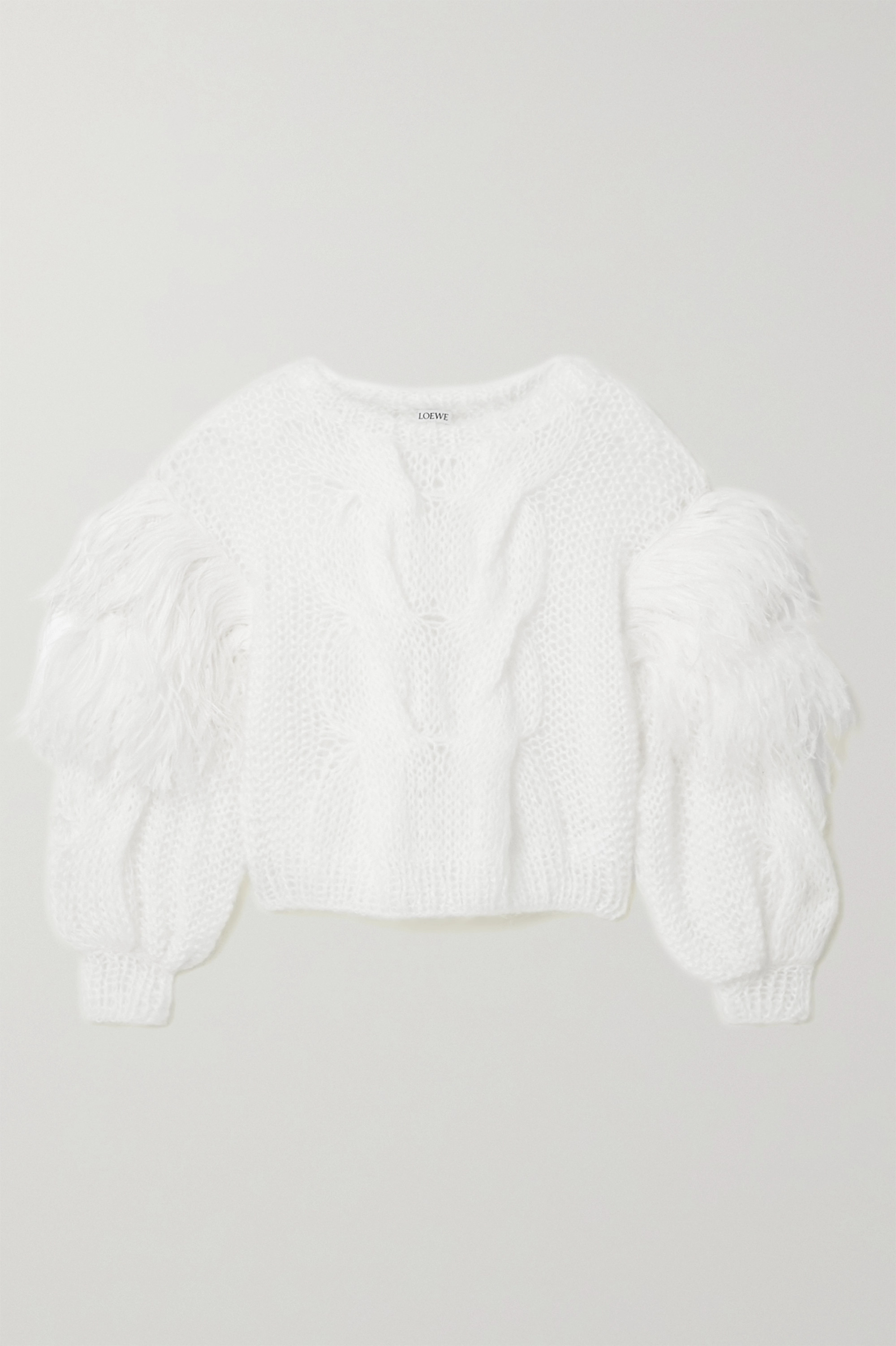 Loewe Feather-trimmed cable-knit mohair-blend sweater