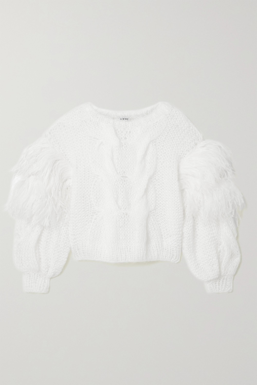 Loewe Pullover aus einer Mohairmischung in Zopfstrick mit Federn