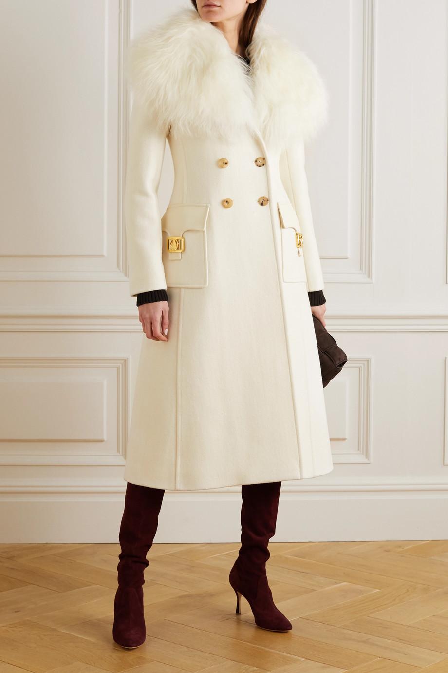 Lanvin 双排扣羊毛皮边饰羊毛混纺外套