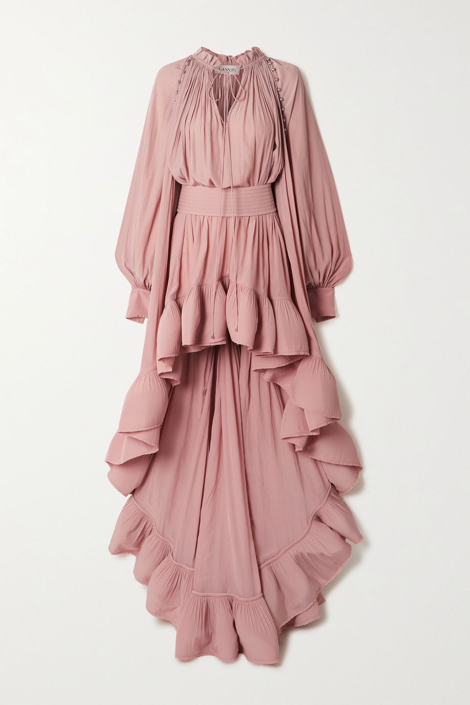 Lanvin Cape-effect embellished ruffled crepe gown