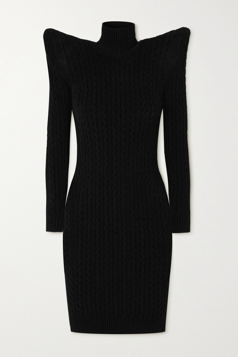 Balenciaga Pagoda cable knit-effect velvet turtleneck midi dress