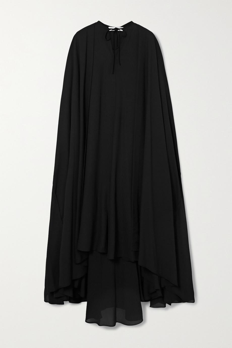 Balenciaga Asymmetrische Robe aus Chiffon mit Cape-Effekt