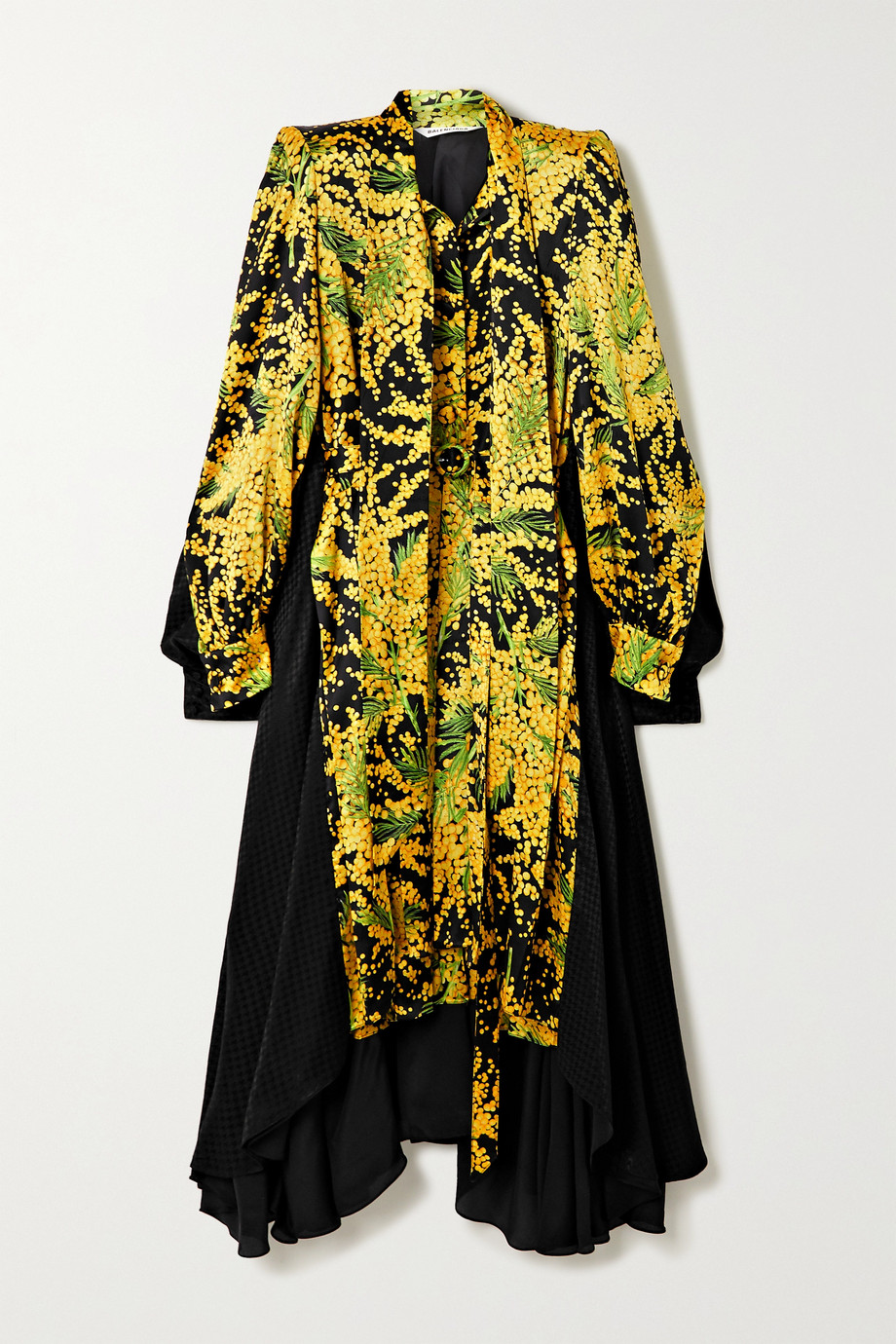 Balenciaga Belted asymmetric paneled printed silk-jacquard midi dress