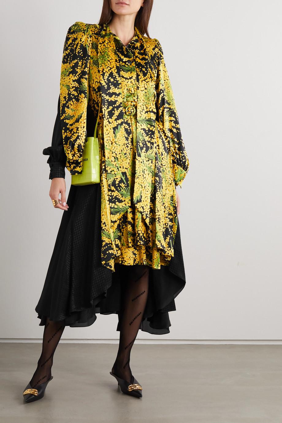 Balenciaga Robe midi asymétrique en jacquard de soie imprimé à ceinture