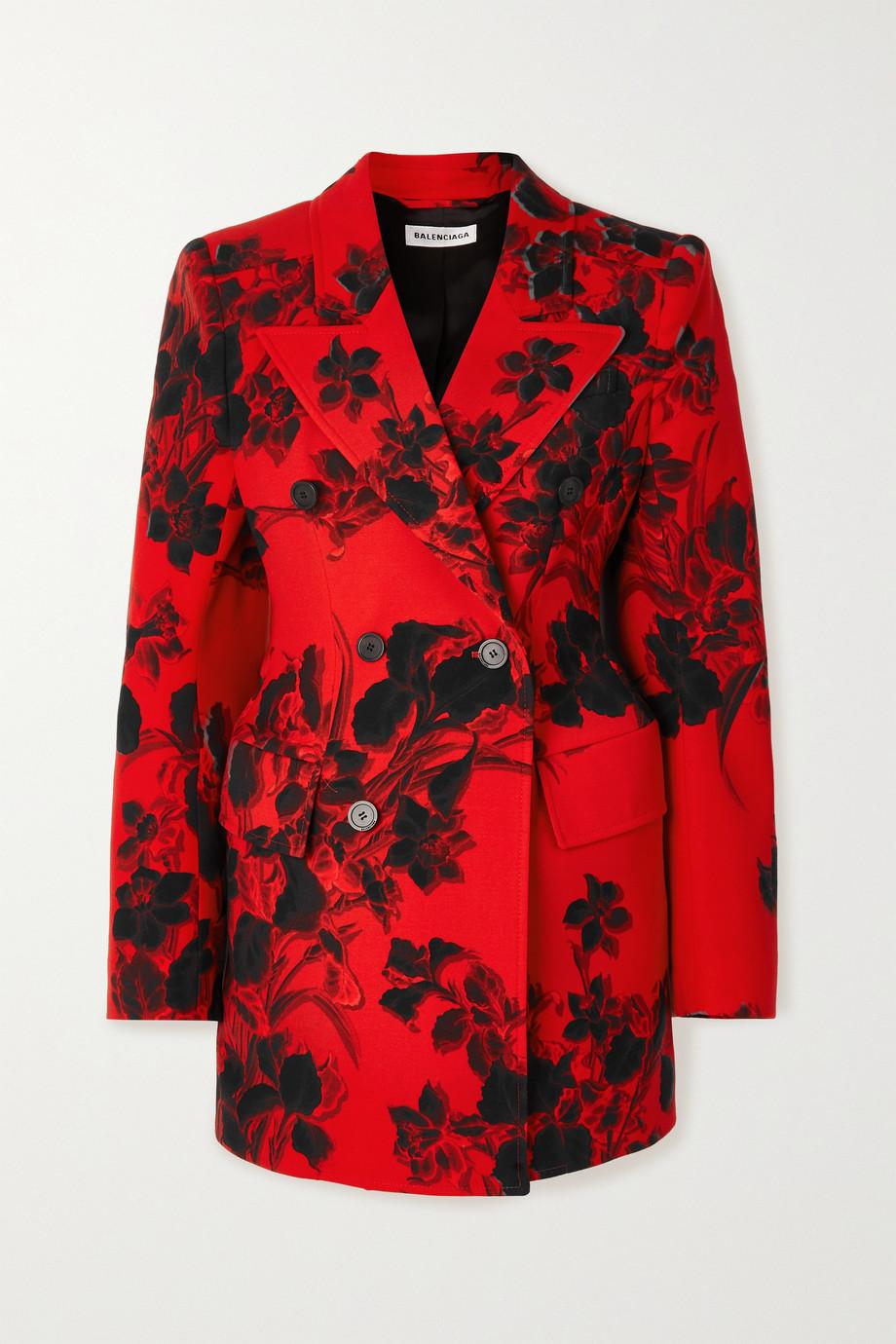 Balenciaga Hourglass 花卉印花羊毛绉纱西装外套