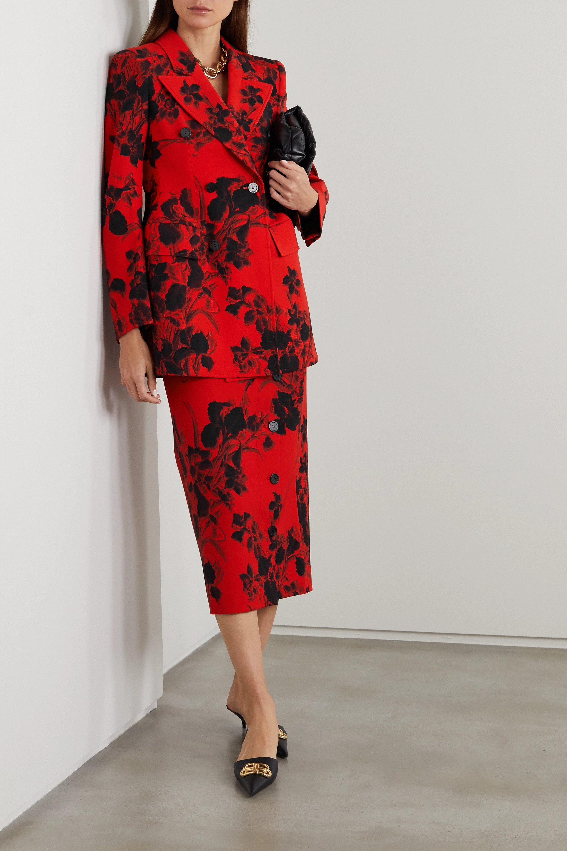 Balenciaga Hourglass floral-print wool-crepe blazer