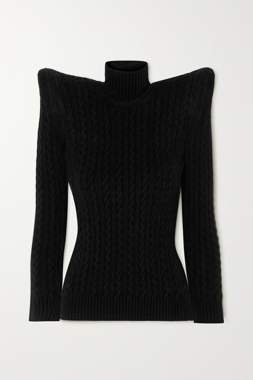 Balenciaga 绞花针织效果天鹅绒高领毛衣