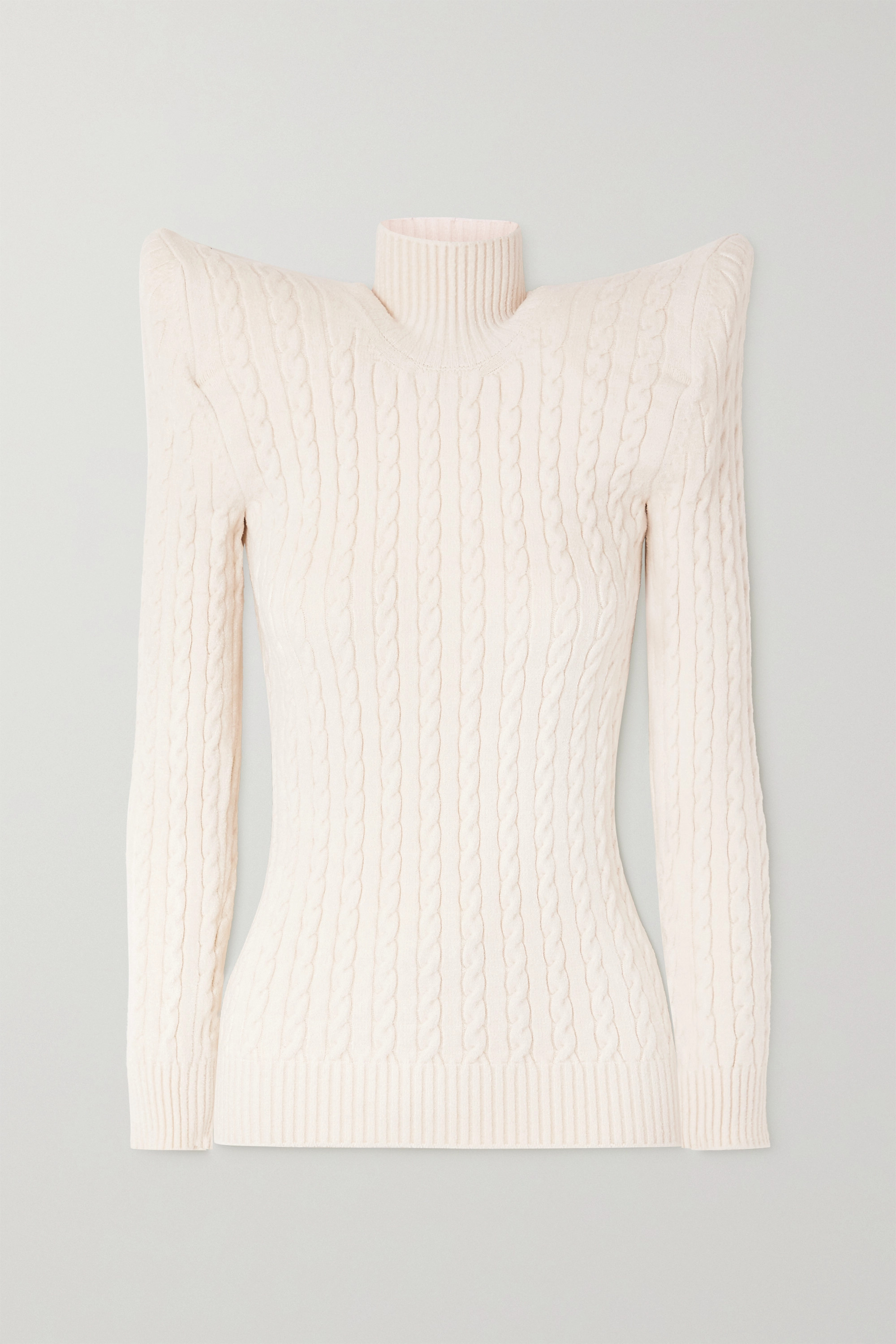 Balenciaga Cable knit-effect velvet turtleneck sweater