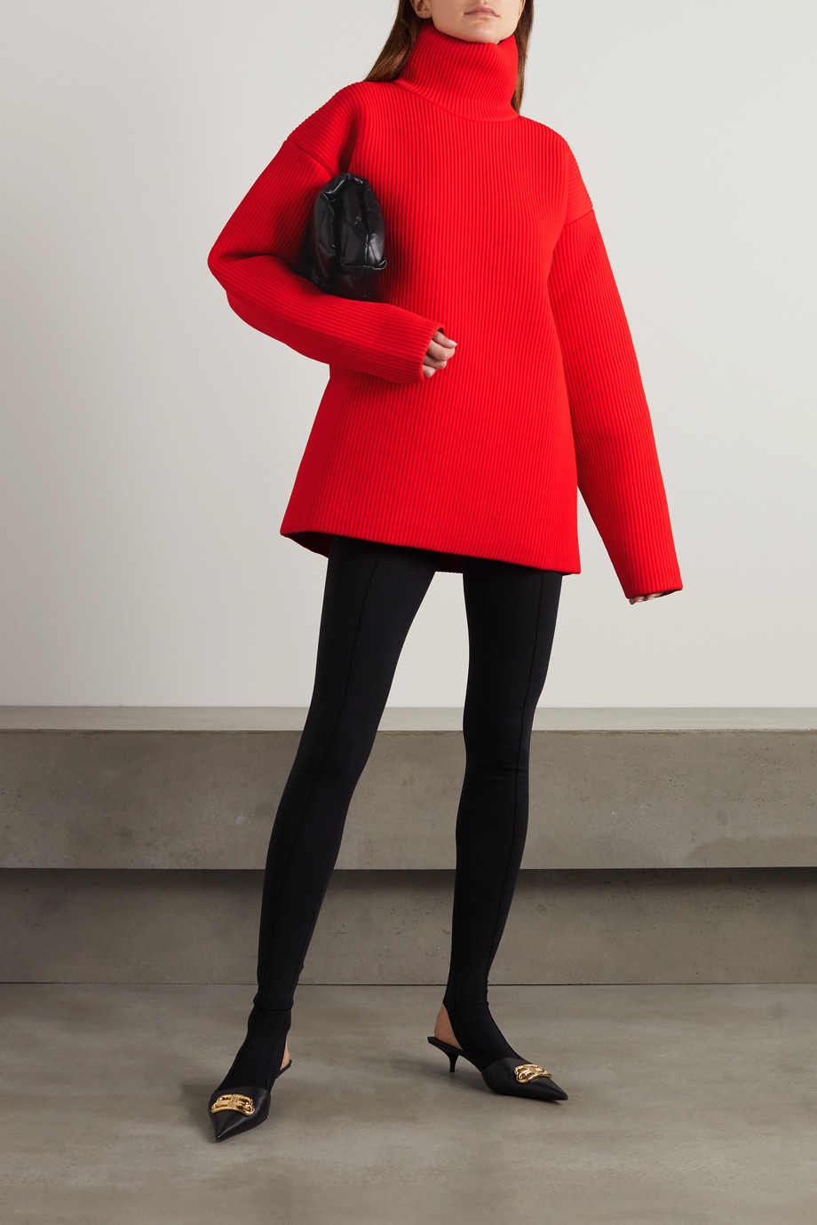 Balenciaga Oversized ribbed-knit turtleneck sweater