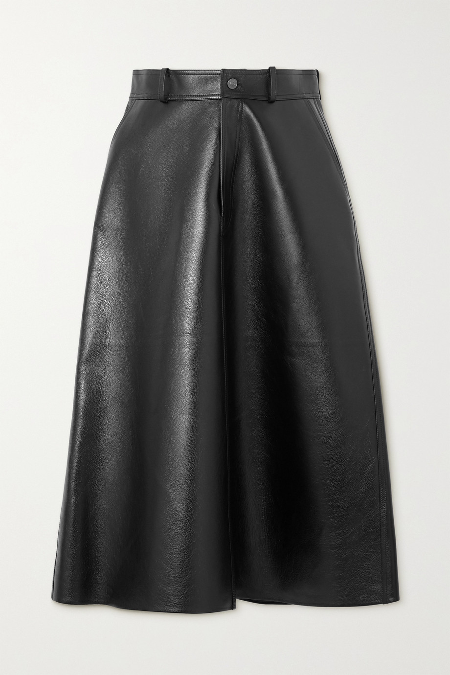 Balenciaga Leather midi skirt