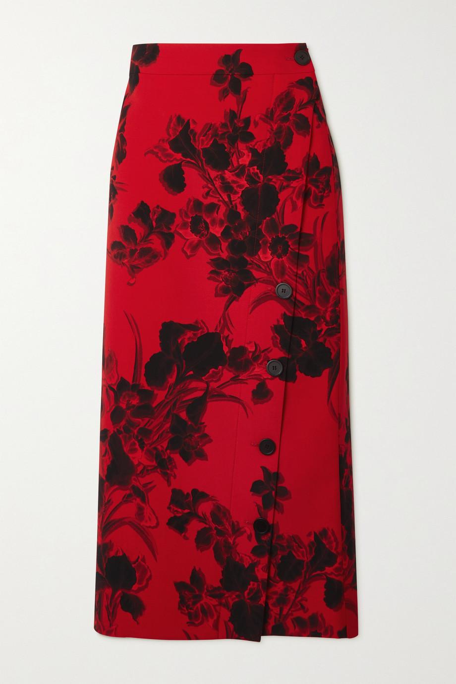 Balenciaga Floral-print wool-crepe midi skirt
