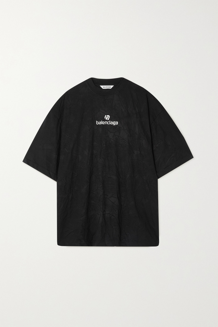 Balenciaga Oversized embroidered crinkled-jersey T-shirt