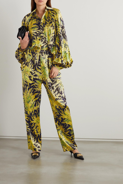 Balenciaga Bluse aus Seiden-Jacquard mit Blumenprint und Falten