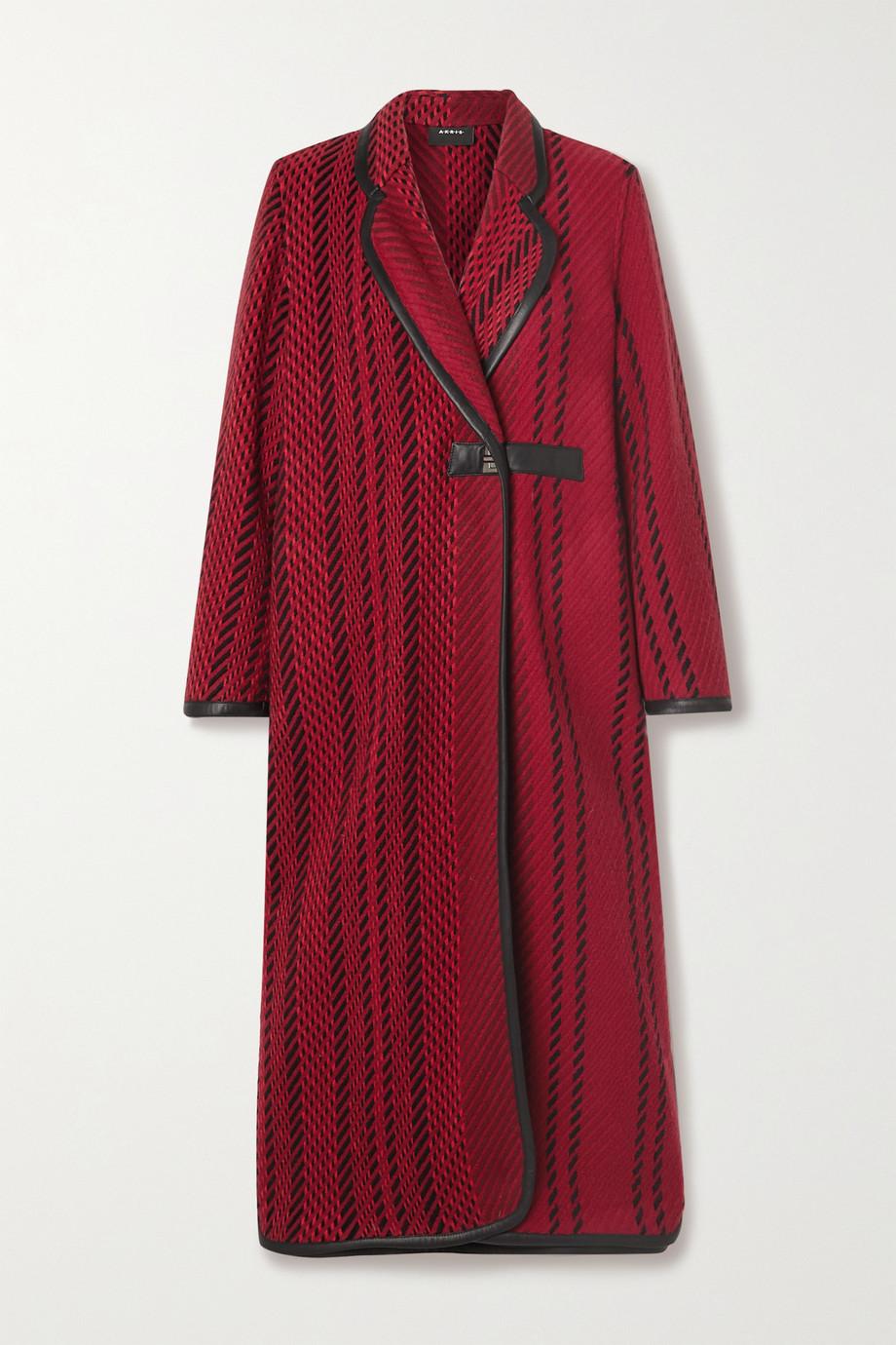 Akris Mantel aus Tweed aus einer Wollmischung mit Lederbesätzen