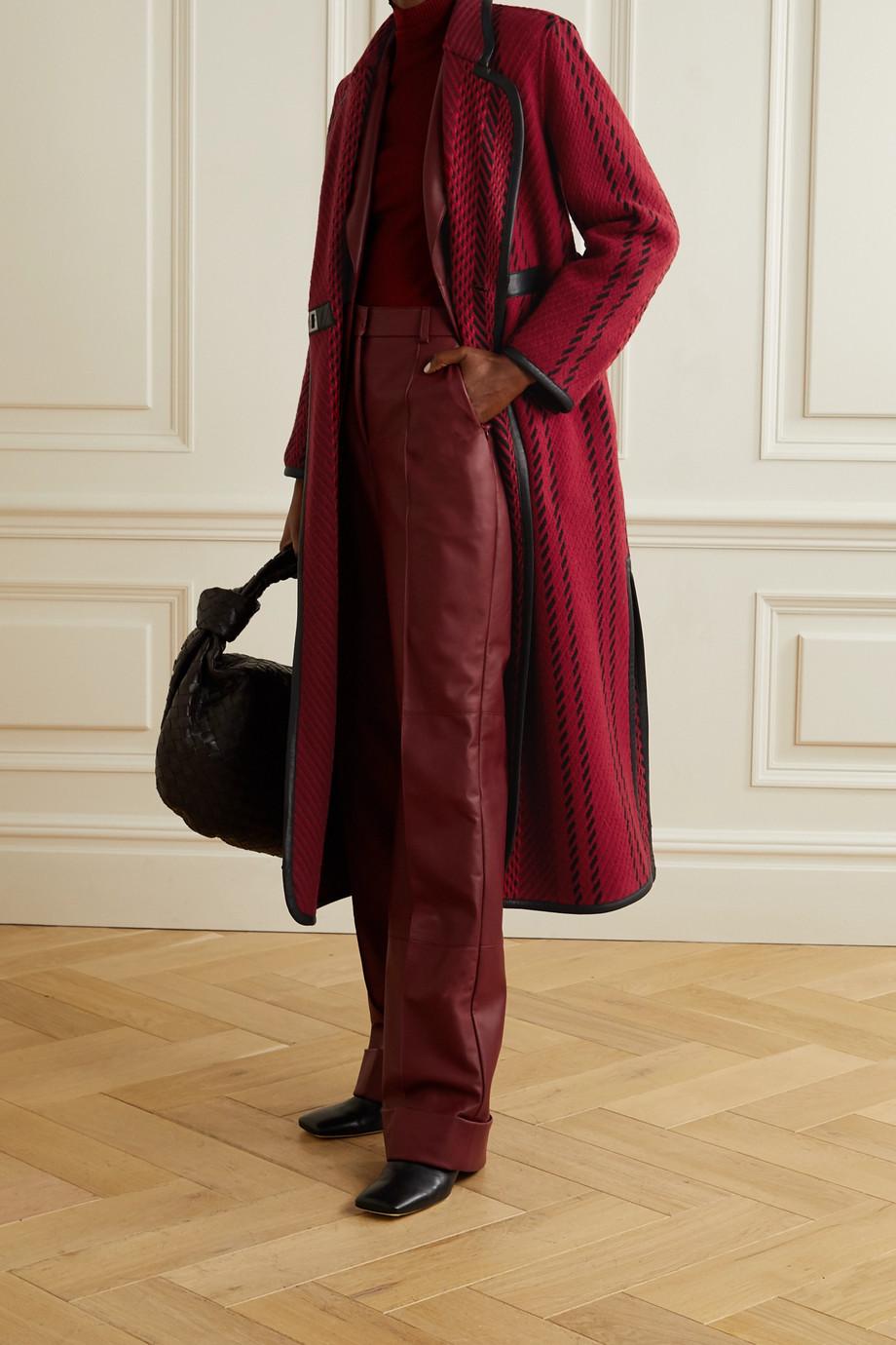 Akris Leather-trimmed wool-blend tweed coat