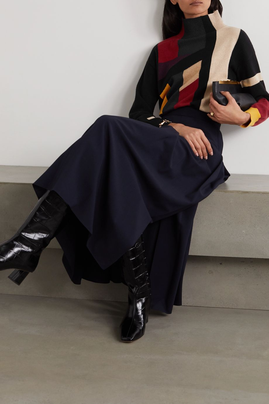 Akris Color-block metallic cashmere-blend turtleneck sweater