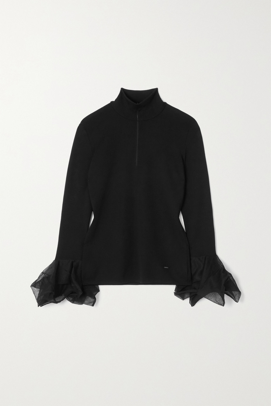 Akris Ruffled mulberry silk-blend sweater