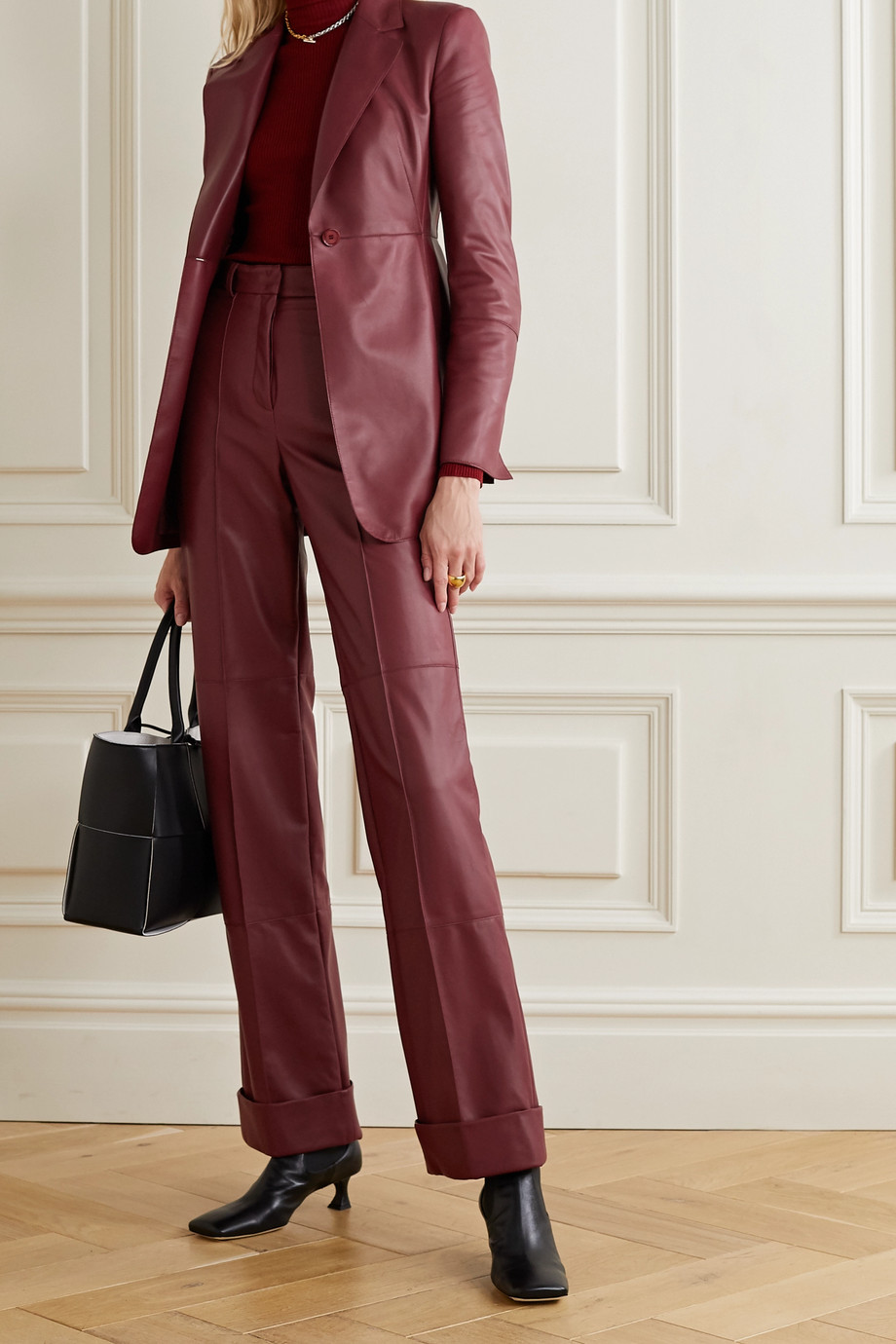 Akris Leather straight-leg pants