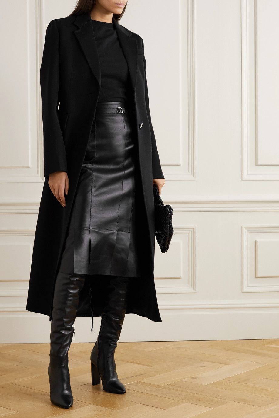 Akris Belted leather skirt