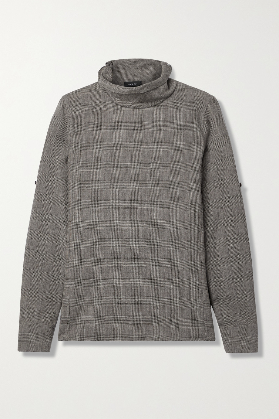 Akris Prince of Wales checked wool turtleneck top