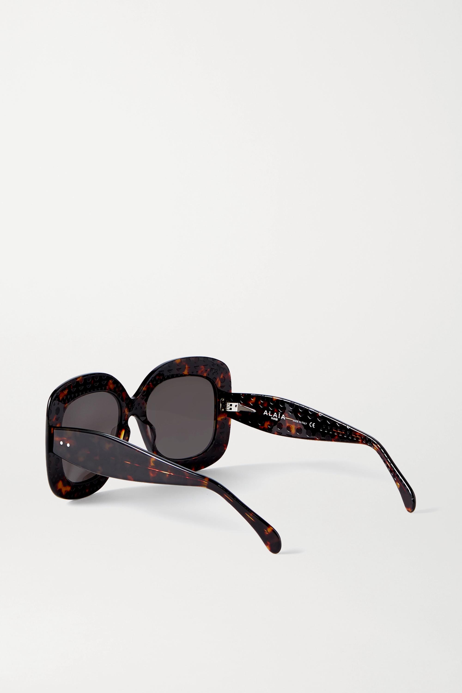 Alaïa Oversized-Sonnenbrille mit eckigem Rahmen aus Azetat in Hornoptik