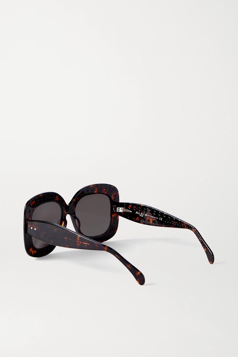Alaïa Oversized square-frame tortoiseshell acetate sunglasses