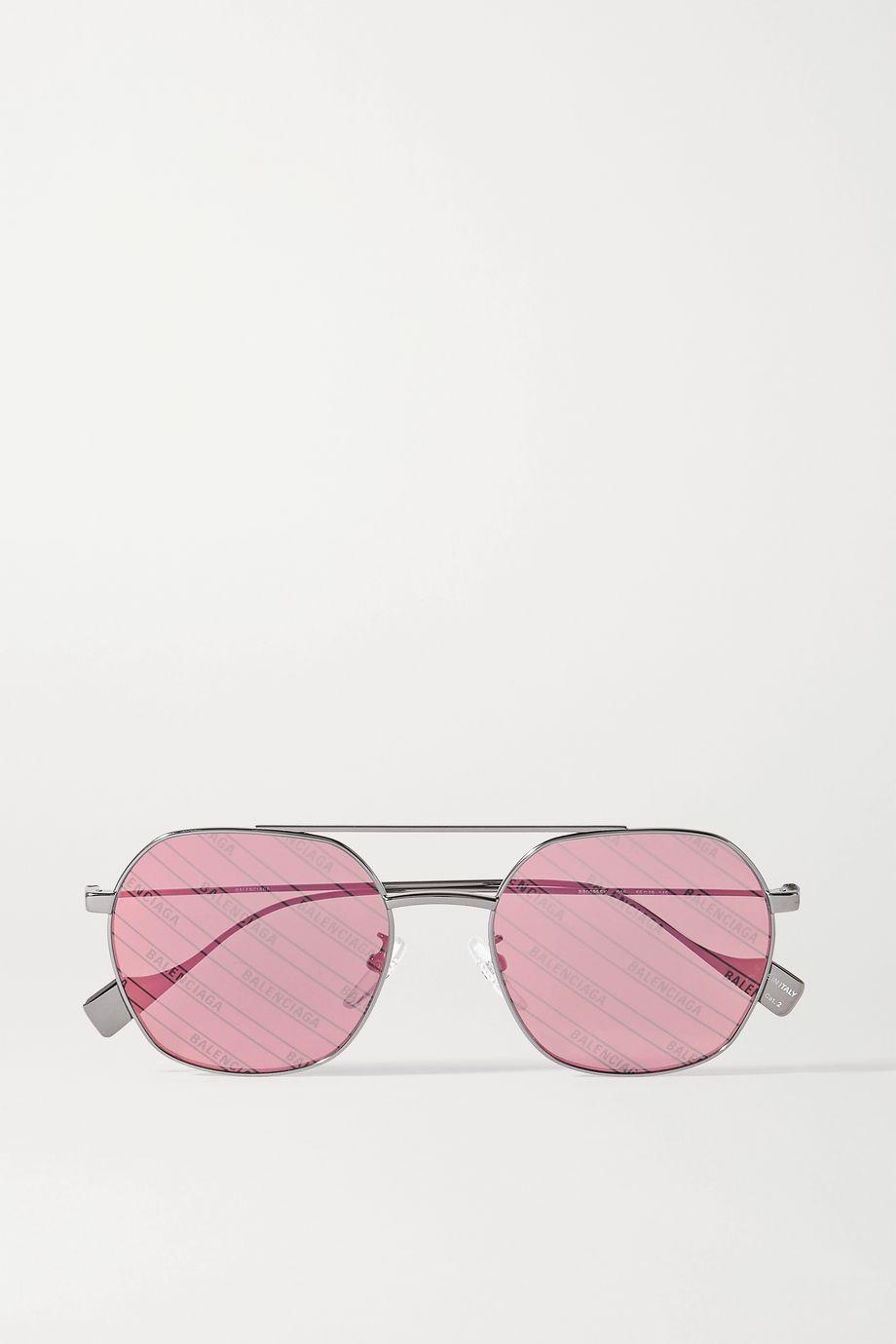 Balenciaga Aviator-style silver-tone sunglasses