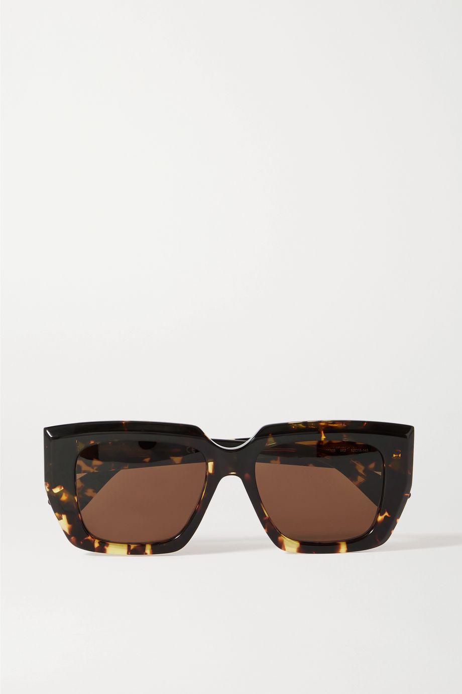 Bottega Veneta Oversized-Sonnenbrille mit eckigem Rahmen aus Azetat in Hornoptik