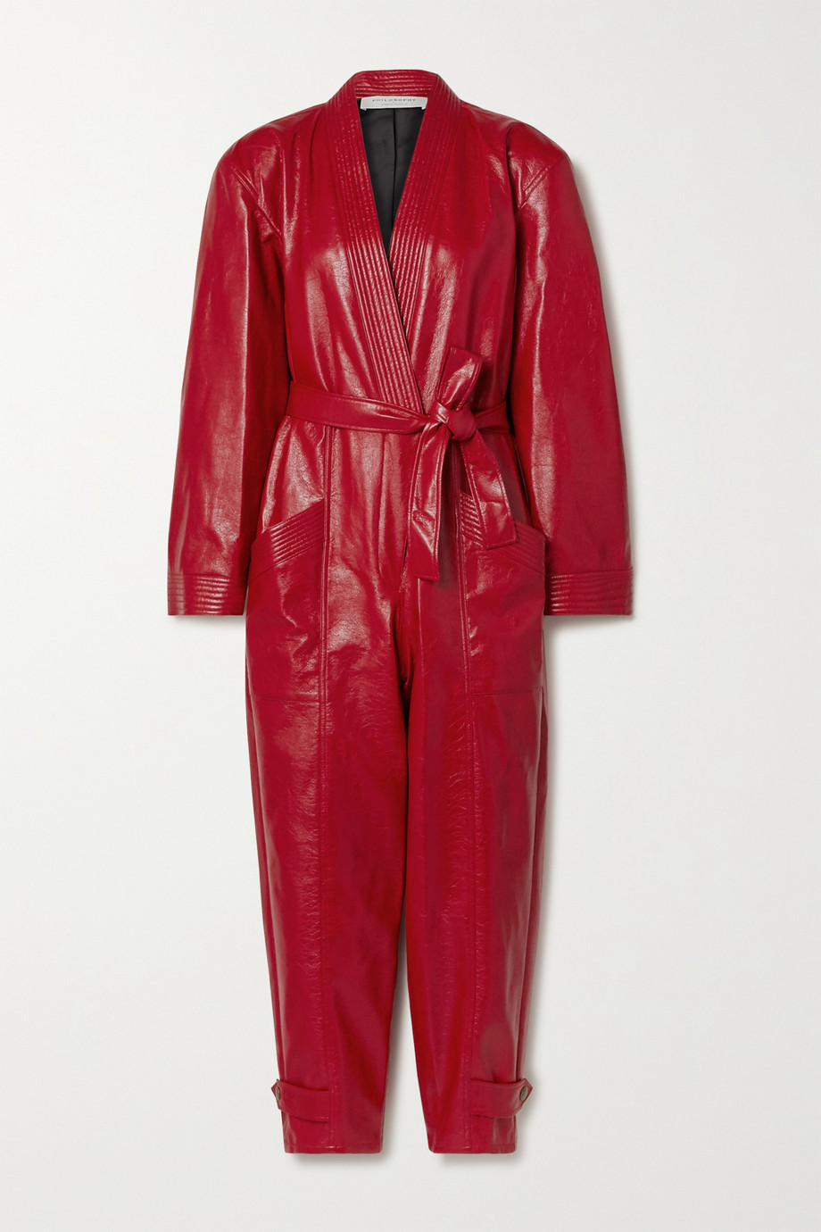 Philosophy di Lorenzo Serafini Belted faux textured-leather jumpsuit