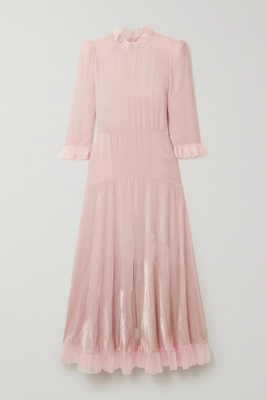 Philosophy di Lorenzo Serafini Tulle-trimmed velvet midi dress