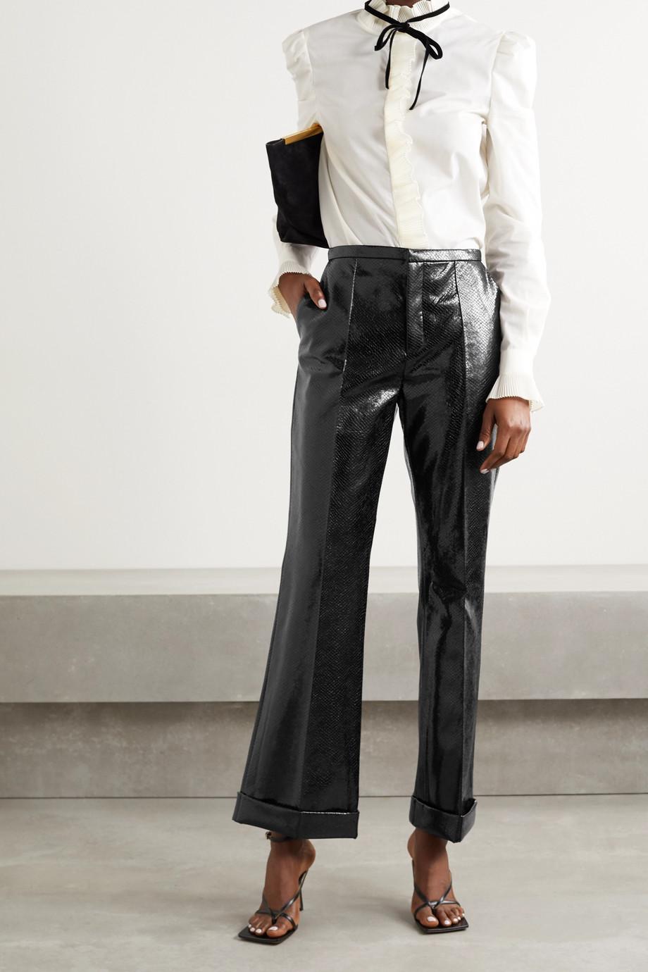 Philosophy di Lorenzo Serafini Snake-effect faux leather straight-leg pants