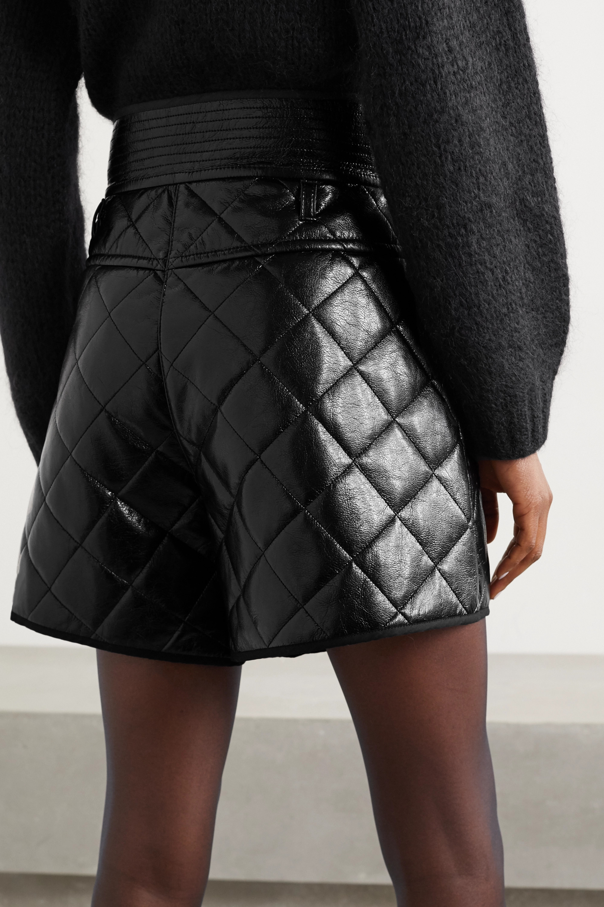 Philosophy di Lorenzo Serafini Quilted faux leather shorts