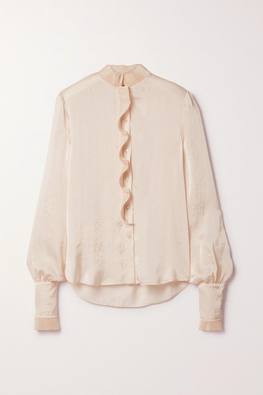 Philosophy di Lorenzo Serafini Plissé ruffled hammered-satin blouse