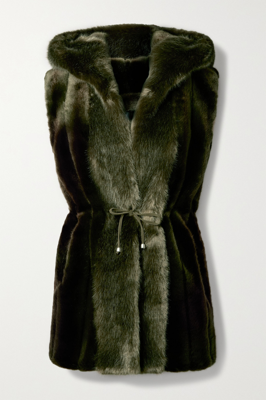 Faz Not Fur Skate Moss hooded two-tone faux fur vest