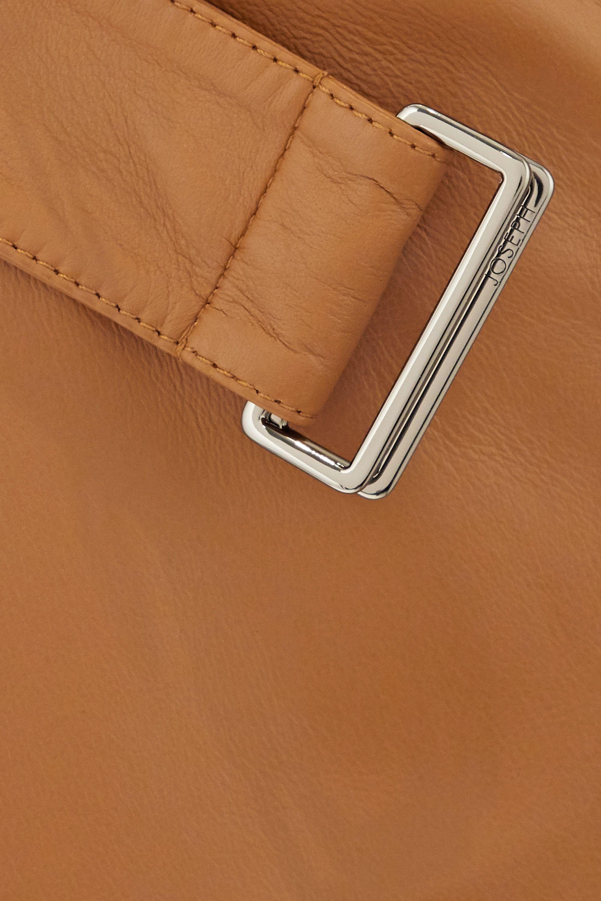 Joseph Salic belted leather midi skirt