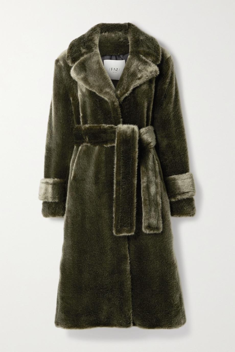 Faz Not Fur Soldier belted faux fur coat
