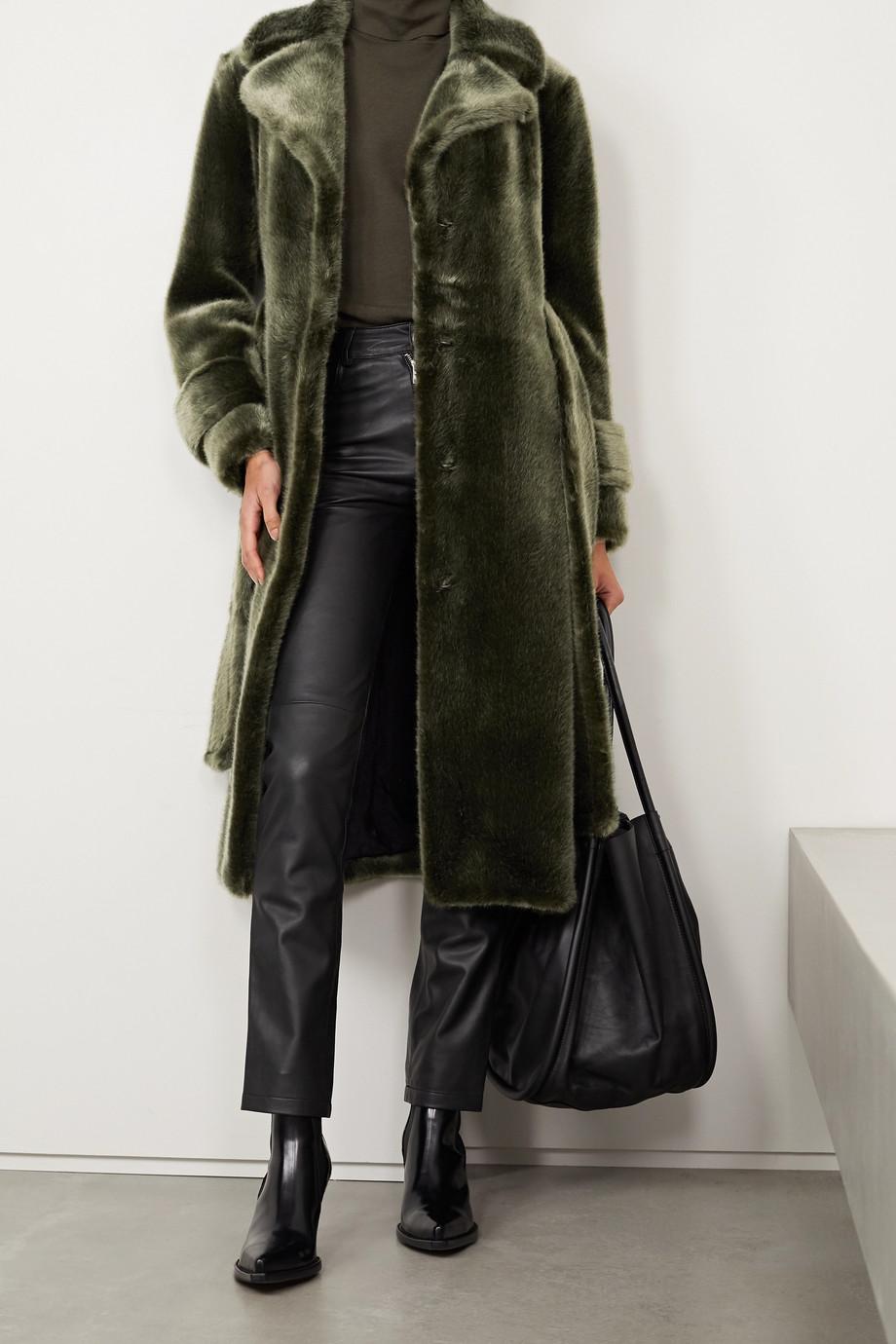Faz Not Fur Soldier Mantel aus Faux Fur mit Bindegürtel