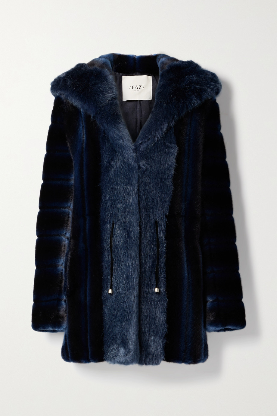 Faz Not Fur Skate Moss zweifarbiger Mantel aus Faux Fur mit Kapuze