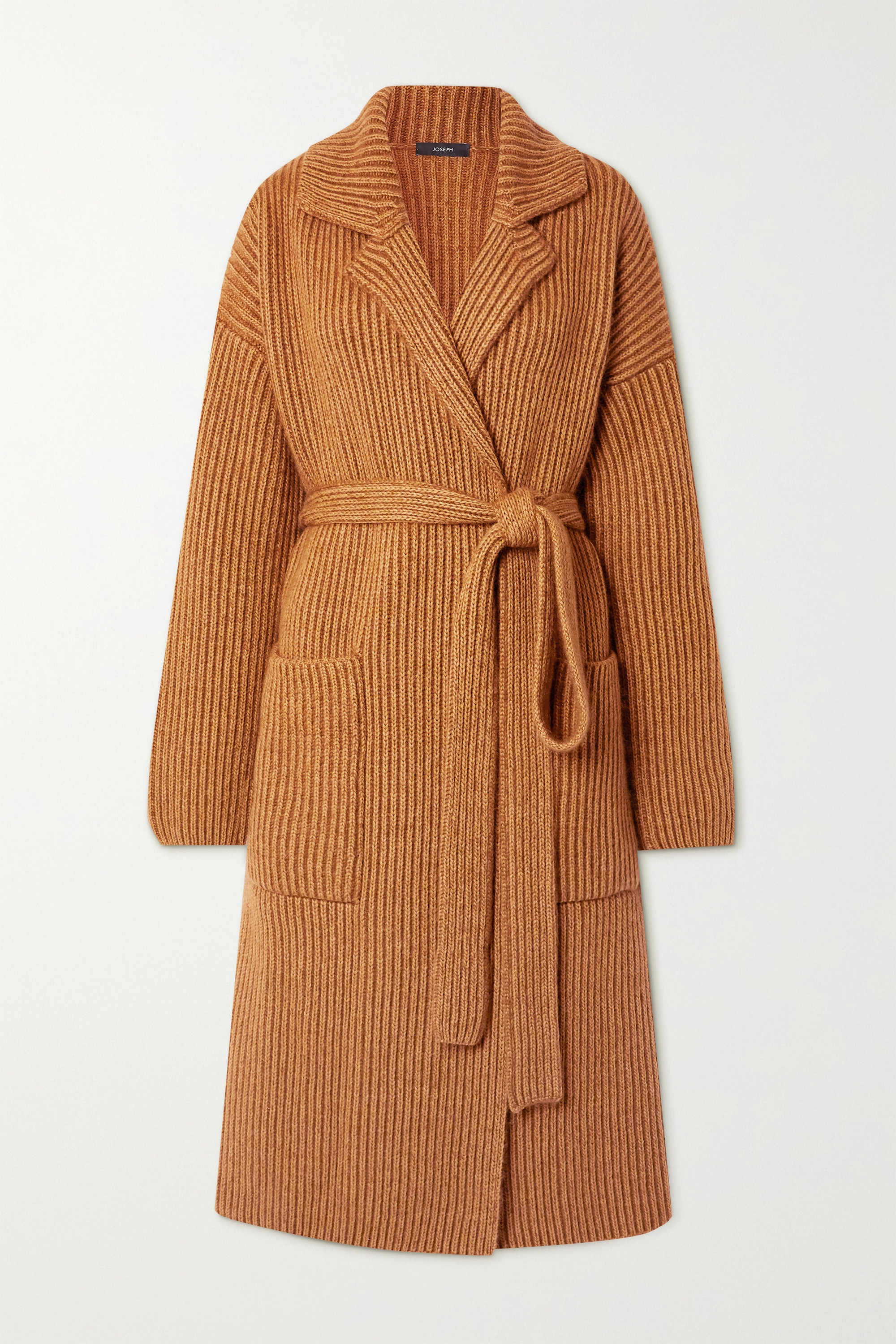 Joseph Belted ribbed wool-blend cardigan