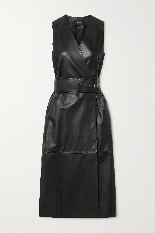 Joseph Dibo belted leather wrap dress