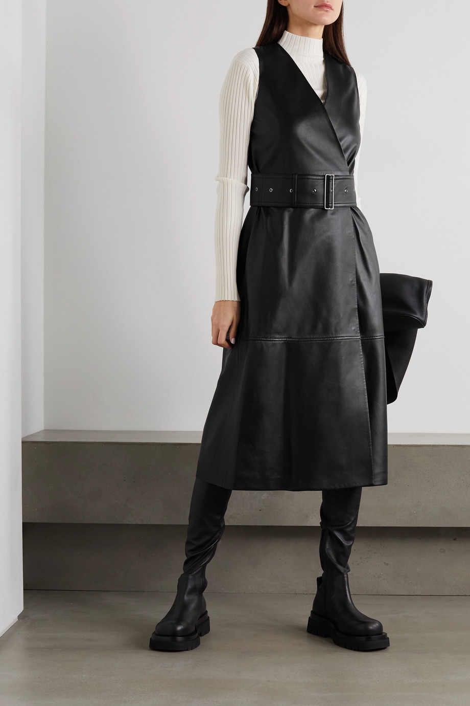 Joseph Dibo belted leather wrap dress