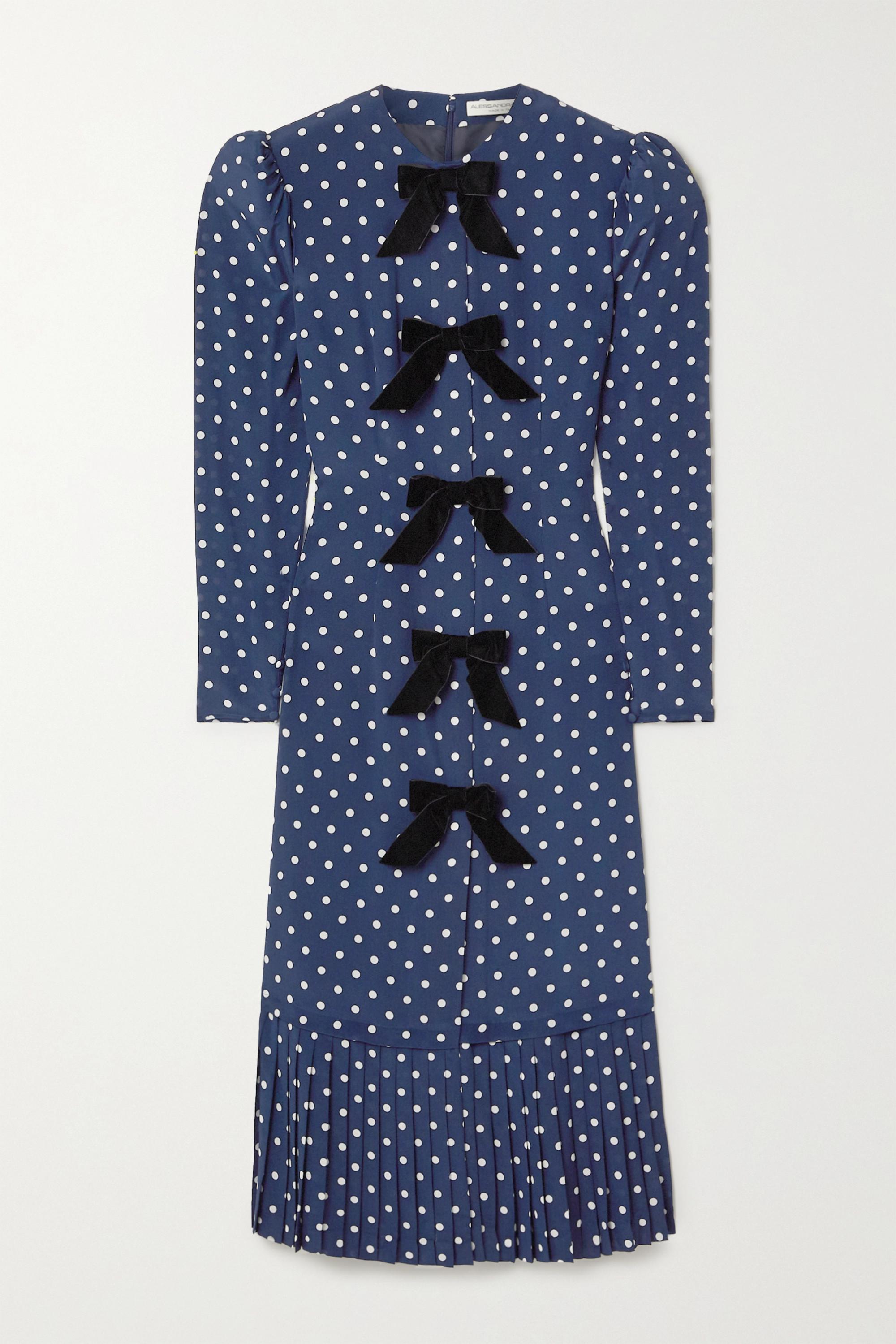 Alessandra Rich Bow-embellished polka-dot silk crepe de chine midi dress
