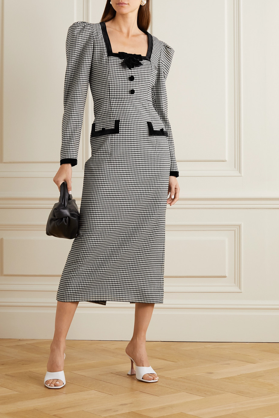 Alessandra Rich Velvet-trimmed checked wool-blend midi dress