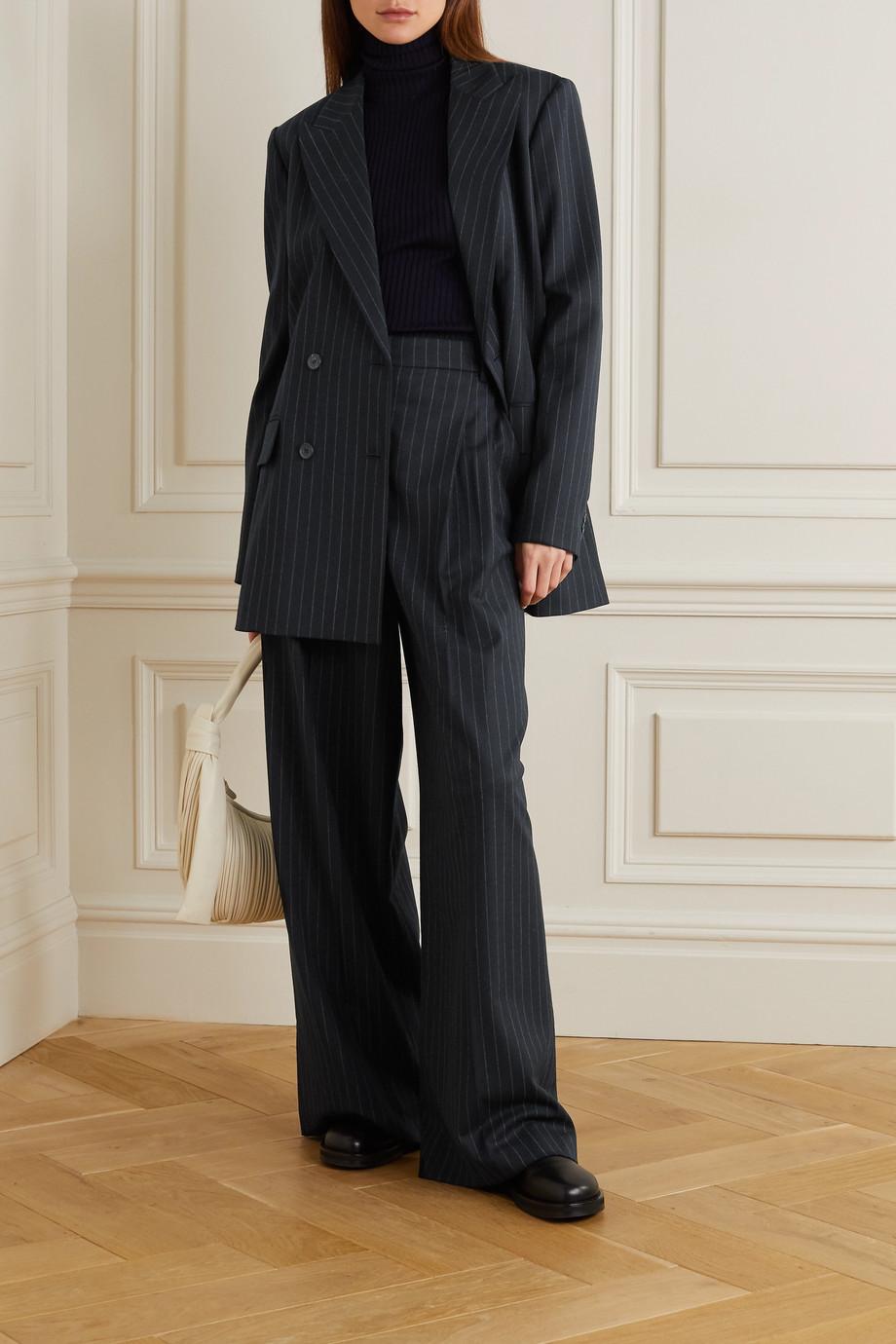 Joseph Jorgan oversized double-breasted pinstriped wool-blend flannel blazer