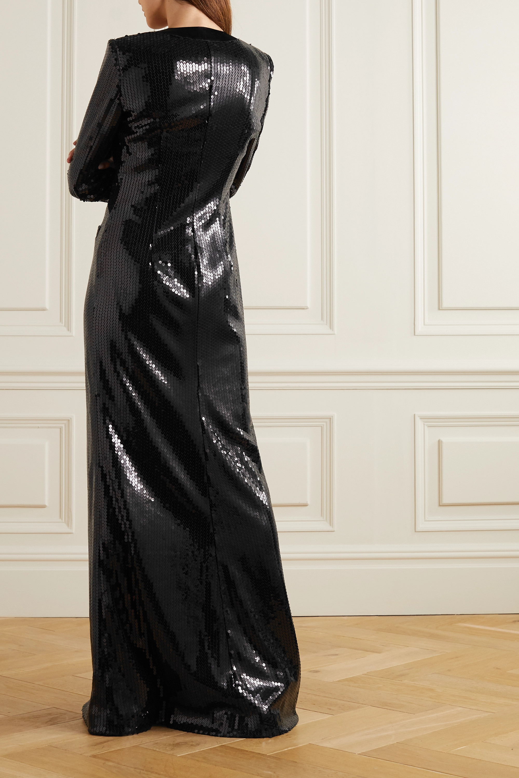 Alessandra Rich Silk satin-trimmed sequined tulle gown