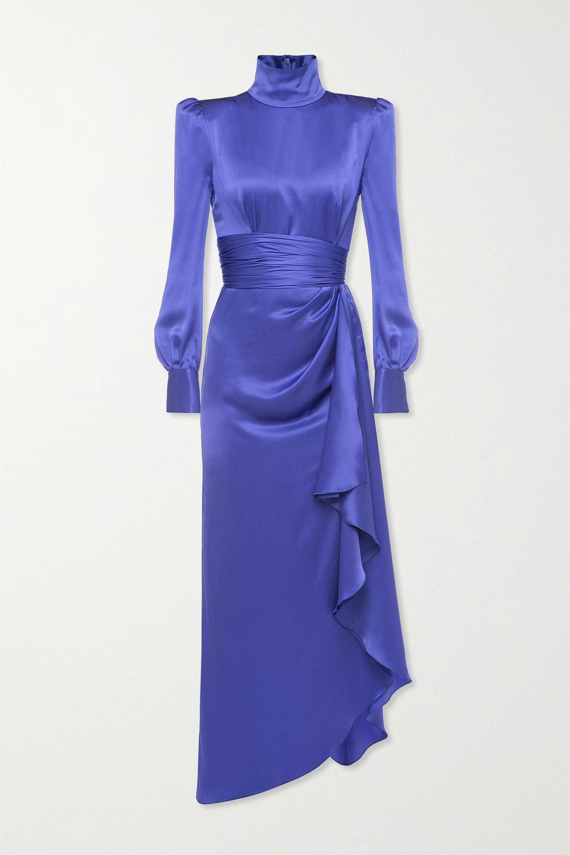 Alessandra Rich Draped silk-satin turtleneck gown